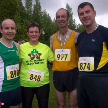 NO FEE PICTURES 28/5/16 John Moran, Sheila Gregan, Tony Gartland and Mike Keohane, Liver Transplant Ireland at the Irish Kidney Association's Run For Life in support of Organ Donation at Corkagh Park in Dublin. Pictures:Arthur Carron