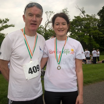 NO FEE PICTURES 28/5/16 Prof Jim Egan and daughter Jessica at the Irish Kidney Association's Run For Life in support of Organ Donation at Corkagh Park in Dublin. Pictures:Arthur Carron