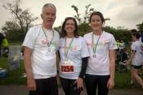 NO FEE PICTURES 28/5/16 Vivienne Traynor, Ambassador for Organ Donor Awareness 2016 with Prof Jim Egan and daughter Jessica at the Irish Kidney Association's Run For Life in support of Organ Donation at Corkagh Park in Dublin. Pictures:Arthur Carron