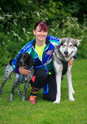 ***NO FEE PIC *** 20/05/2017 Louise jones from Lucan with her dogs Dyson an Inuit Northern & Lady a pointer during the Irish Kidney Association's Run for a Life family fun run which will take place this Saturday 20th May at Corkagh Park, Clondalkin, Dublin. The IKA's Run for a Life is a charity fundraiser and celebrates the 'gift of life' and aims to raise awareness about the vital importance of organ donation and transplantation. Now in its 9th year 'Run for a Life' is open to people of all ages with the option of walking, jogging or running competitively in either a chip timed 2.5km, 5km or 10km distance. Based on last year's attendance over 500 people are expected to register for the event. For more information on the event visit website www.runforalife.ie For organ donor cards Freetext DONOR to 50050 or visit website www.ika.ie/card You can now download the IKA's new digital donor card by visiting www.donor.ie on your smartphone. Your wishes to be an organ donor can also be included on the new format driving licence which is represented by Code 115. Photo: Arthur Carron