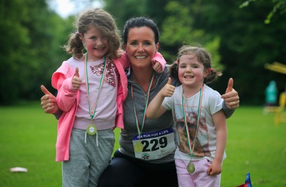***NO FEE PIC *** 20/05/2017 Member of the Jordan family from Clondalkin Sadhbh 7,Denise & Grace 4 during the Irish Kidney Association's Run for a Life family fun run which will take place this Saturday 20th May at Corkagh Park, Clondalkin, Dublin. The IKA's Run for a Life is a charity fundraiser and celebrates the 'gift of life' and aims to raise awareness about the vital importance of organ donation and transplantation. Now in its 9th year 'Run for a Life' is open to people of all ages with the option of walking, jogging or running competitively in either a chip timed 2.5km, 5km or 10km distance. Based on last year's attendance over 500 people are expected to register for the event. For more information on the event visit website www.runforalife.ie For organ donor cards Freetext DONOR to 50050 or visit website www.ika.ie/card You can now download the IKA's new digital donor card by visiting www.donor.ie on your smartphone. Your wishes to be an organ donor can also be included on the new format driving licence which is represented by Code 115. Photo: Arthur Carron