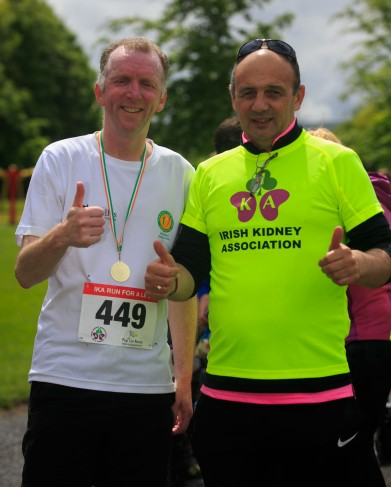 ***NO FEE PIC *** 20/05/2017 Stephen Byrne from Tralee & Pat o Sullivan from Mallow during the Irish Kidney Association's Run for a Life family fun run which will take place this Saturday 20th May at Corkagh Park, Clondalkin, Dublin. The IKA's Run for a Life is a charity fundraiser and celebrates the 'gift of life' and aims to raise awareness about the vital importance of organ donation and transplantation. Now in its 9th year 'Run for a Life' is open to people of all ages with the option of walking, jogging or running competitively in either a chip timed 2.5km, 5km or 10km distance. Based on last year's attendance over 500 people are expected to register for the event. For more information on the event visit website www.runforalife.ie For organ donor cards Freetext DONOR to 50050 or visit website www.ika.ie/card You can now download the IKA's new digital donor card by visiting www.donor.ie on your smartphone. Your wishes to be an organ donor can also be included on the new format driving licence which is represented by Code 115. Photo: Arthur Carron