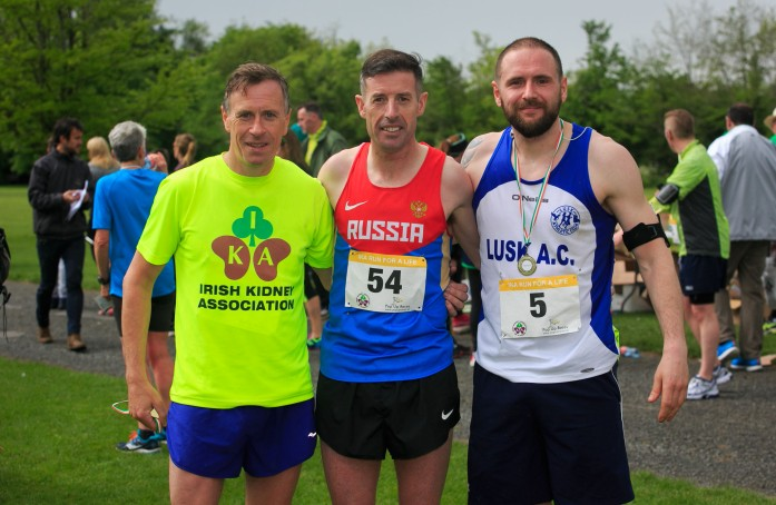 ***NO FEE PIC *** 20/05/2017 10k finalists Dermot Delany Clondalkin, Ronan Kearns from Kilnamanagh & John Caren from Skerries during the Irish Kidney Association's Run for a Life family fun run which will take place this Saturday 20th May at Corkagh Park, Clondalkin, Dublin. The IKA's Run for a Life is a charity fundraiser and celebrates the 'gift of life' and aims to raise awareness about the vital importance of organ donation and transplantation. Now in its 9th year 'Run for a Life' is open to people of all ages with the option of walking, jogging or running competitively in either a chip timed 2.5km, 5km or 10km distance. Based on last year's attendance over 500 people are expected to register for the event. For more information on the event visit website www.runforalife.ie For organ donor cards Freetext DONOR to 50050 or visit website www.ika.ie/card You can now download the IKA's new digital donor card by visiting www.donor.ie on your smartphone. Your wishes to be an organ donor can also be included on the new format driving licence which is represented by Code 115. Photo: Arthur Carron