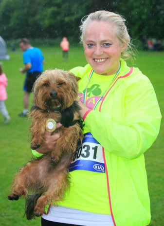 ***NO FEE PIC *** 20/05/2017 Mags Murray with ted the dog during the Irish Kidney Association's Run for a Life family fun run which will take place this Saturday 20th May at Corkagh Park, Clondalkin, Dublin. The IKA's Run for a Life is a charity fundraiser and celebrates the 'gift of life' and aims to raise awareness about the vital importance of organ donation and transplantation. Now in its 9th year 'Run for a Life' is open to people of all ages with the option of walking, jogging or running competitively in either a chip timed 2.5km, 5km or 10km distance. Based on last year's attendance over 500 people are expected to register for the event. For more information on the event visit website www.runforalife.ie For organ donor cards Freetext DONOR to 50050 or visit website www.ika.ie/card You can now download the IKA's new digital donor card by visiting www.donor.ie on your smartphone. Your wishes to be an organ donor can also be included on the new format driving licence which is represented by Code 115. Photo: Arthur Carron